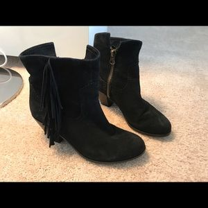 Sam Edelman Booties - Black Suede Fringe